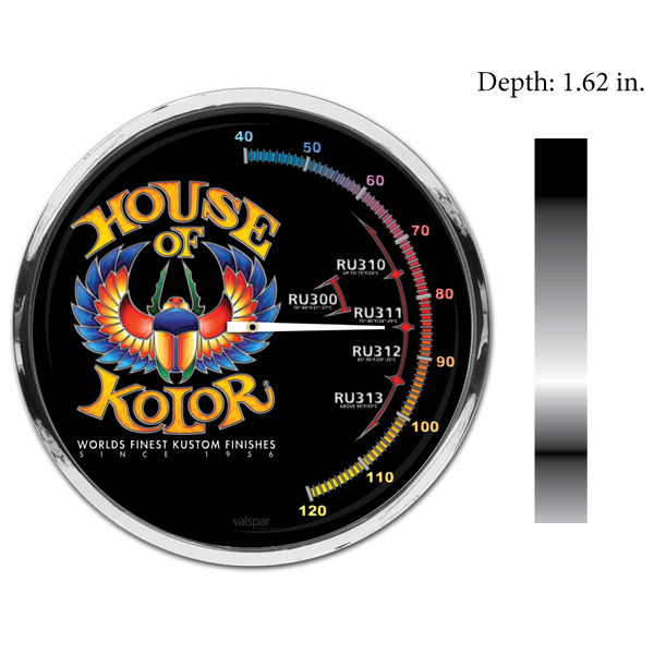"Model 1878T. 11.5"" customized thermometer with custom designs printed onto the front of the thermometer."