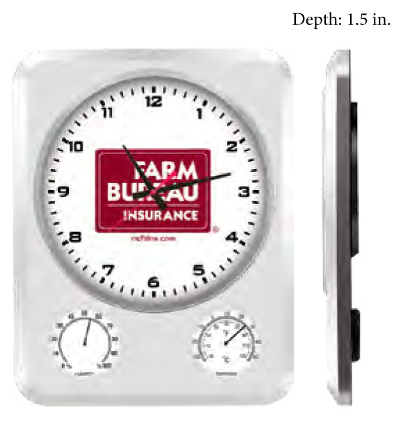 Weather clocks shows time, temperature and humidity. We can print your logo onto the front of each clock.