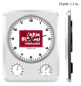 Clock with weather gauges. Multi-functional clock shows time, temperature and humidity.
